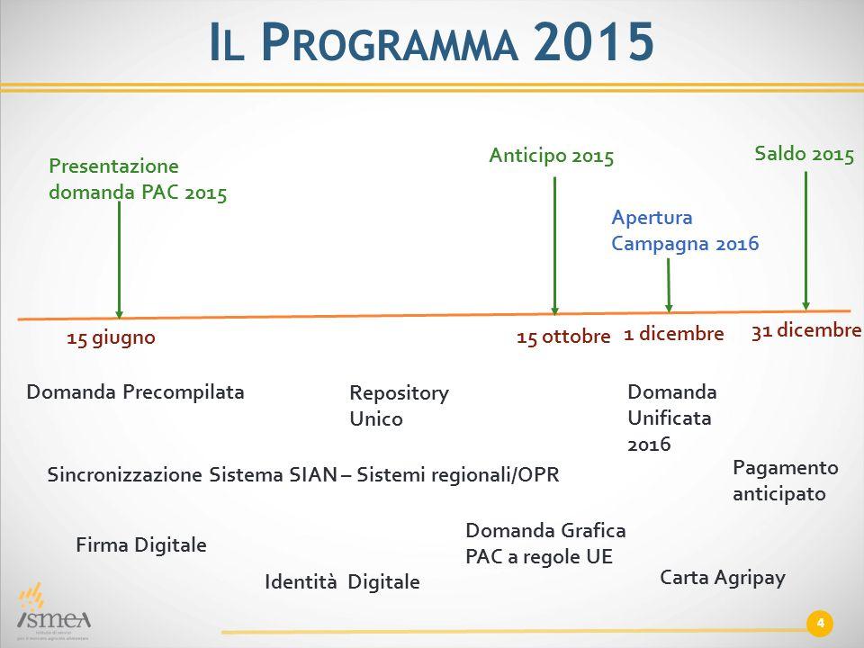 Il Programma 2015 Anticipo 2015 Saldo 2015