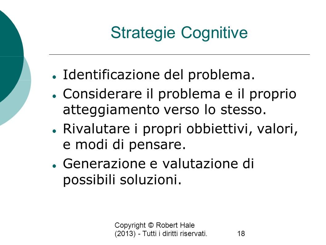 Strategie Cognitive Identificazione del problema.