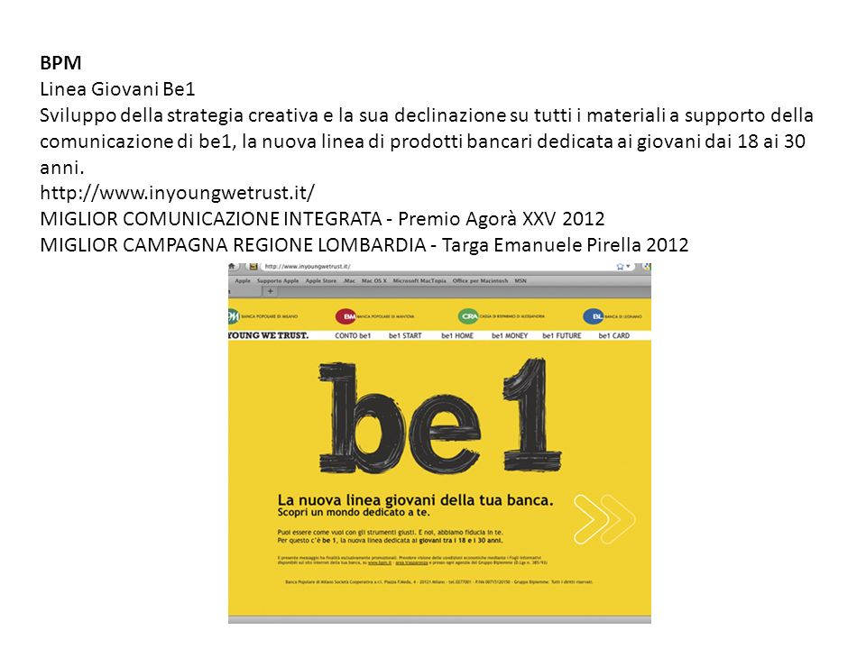 BPM Linea Giovani Be1.