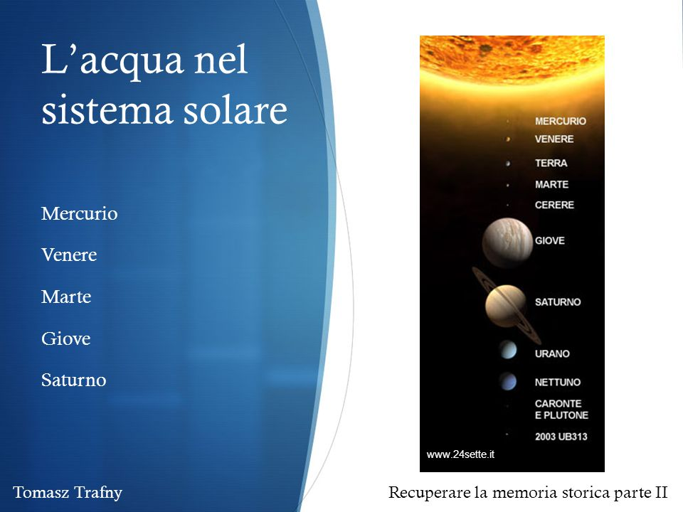 L'acqua nel sistema solare