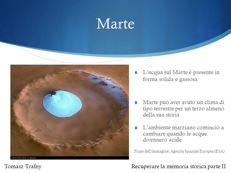 Marte L'acqua sul Marte è presente in forma solida e gassosa