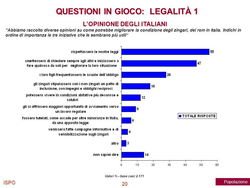 QUESTIONI IN GIOCO: LEGALITÀ 1