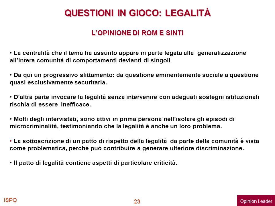 QUESTIONI IN GIOCO: LEGALITÀ