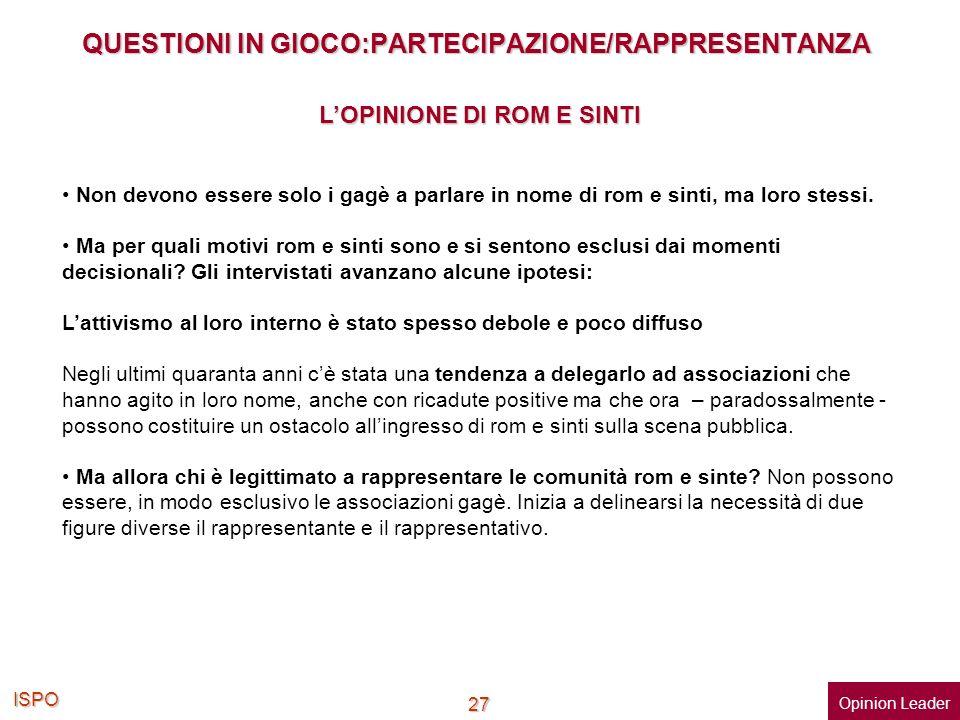 QUESTIONI IN GIOCO:PARTECIPAZIONE/RAPPRESENTANZA