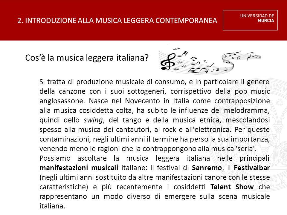 2. INTRODUZIONE ALLA MUSICA LEGGERA CONTEMPORANEA