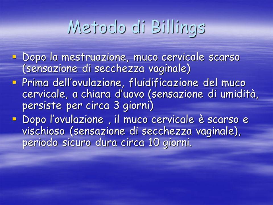 Metodo di Billings Dopo la mestruazione, muco cervicale scarso (sensazione di secchezza vaginale)