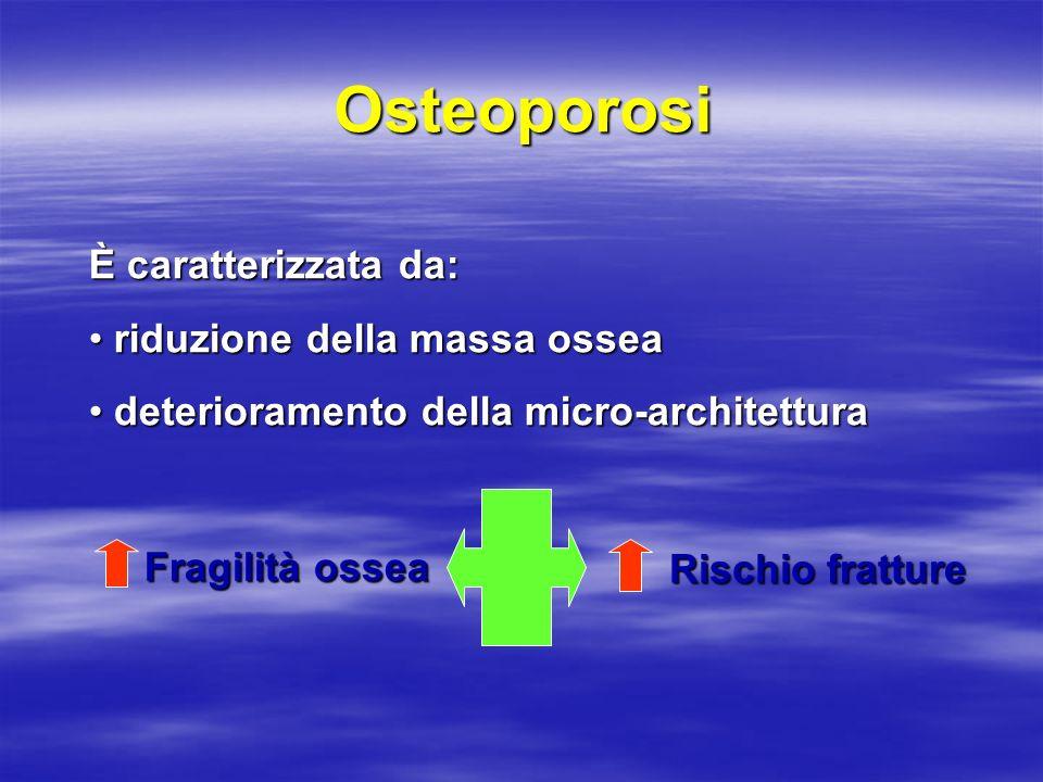 Osteoporosi È caratterizzata da: riduzione della massa ossea