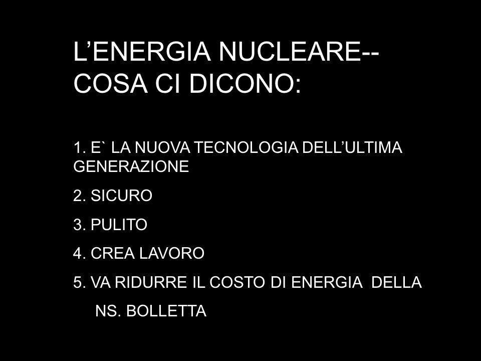 L'ENERGIA NUCLEARE--COSA CI DICONO: