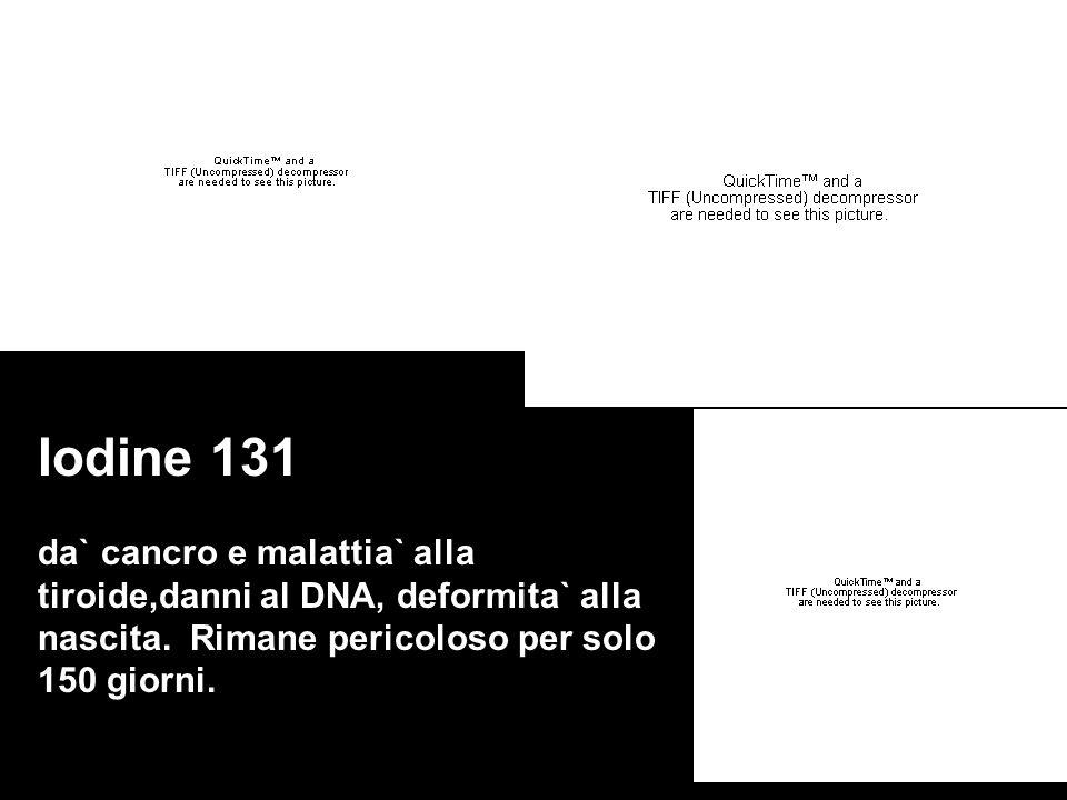 Iodine 131 da` cancro e malattia` alla tiroide,danni al DNA, deformita` alla nascita.