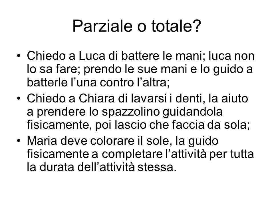 Parziale o totale Chiedo a Luca di battere le mani; luca non lo sa fare; prendo le sue mani e lo guido a batterle l'una contro l'altra;