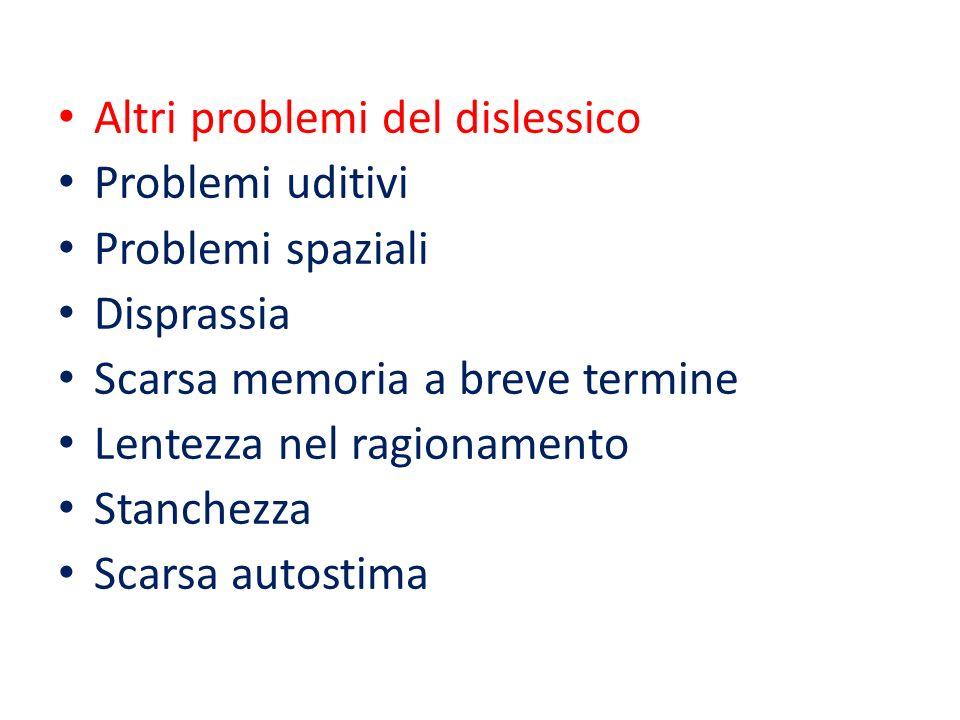 Altri problemi del dislessico