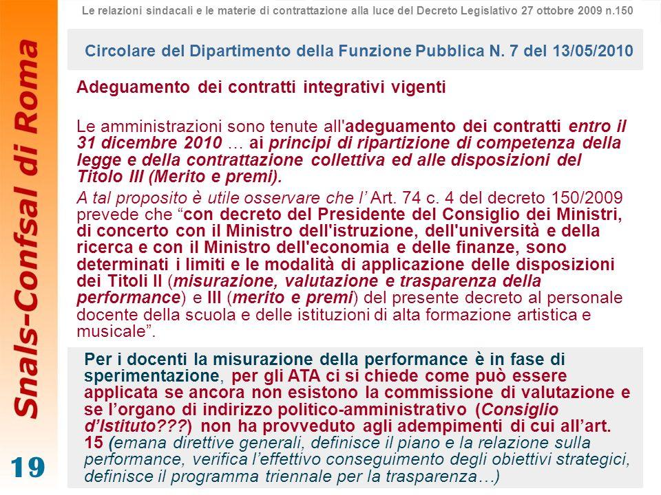 Circolare del Dipartimento della Funzione Pubblica N. 7 del 13/05/2010