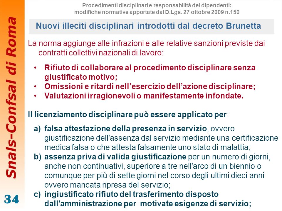 Nuovi illeciti disciplinari introdotti dal decreto Brunetta
