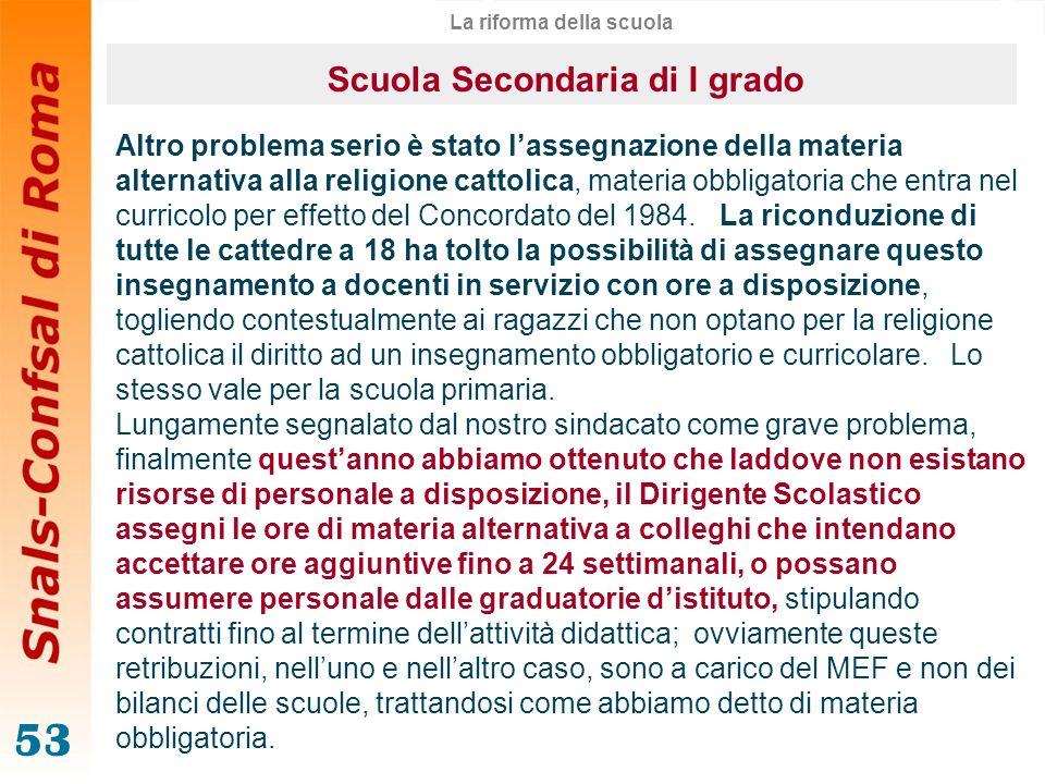 La riforma della scuola Scuola Secondaria di I grado
