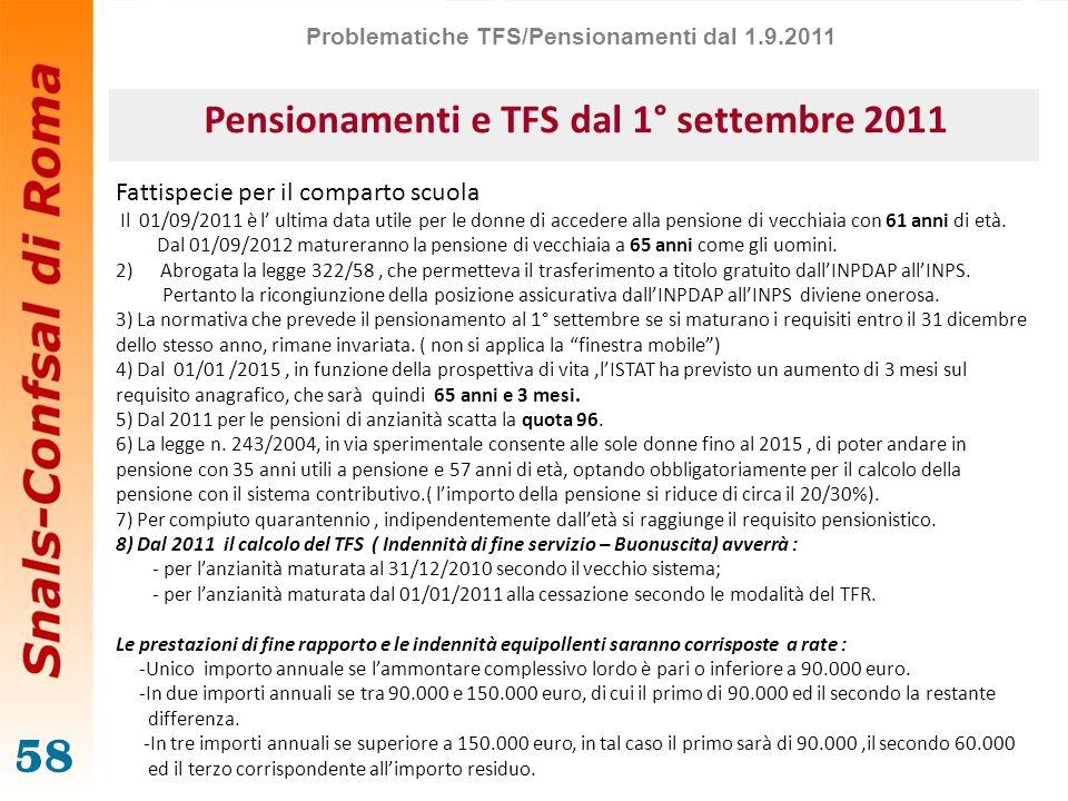 Pensionamenti e TFS dal 1° settembre 2011