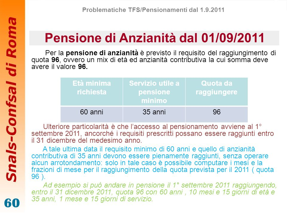 Pensione di Anzianità dal 01/09/2011