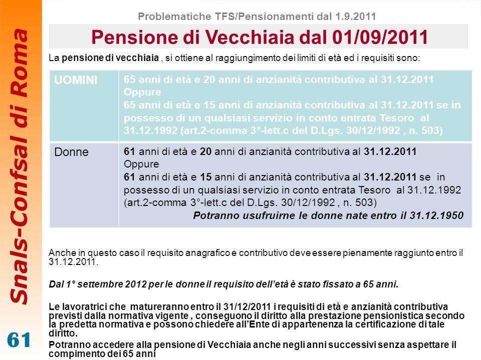 Pensione di Vecchiaia dal 01/09/2011