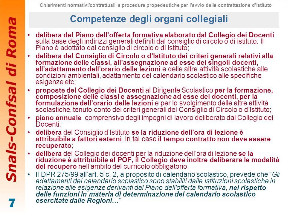 Competenze degli organi collegiali