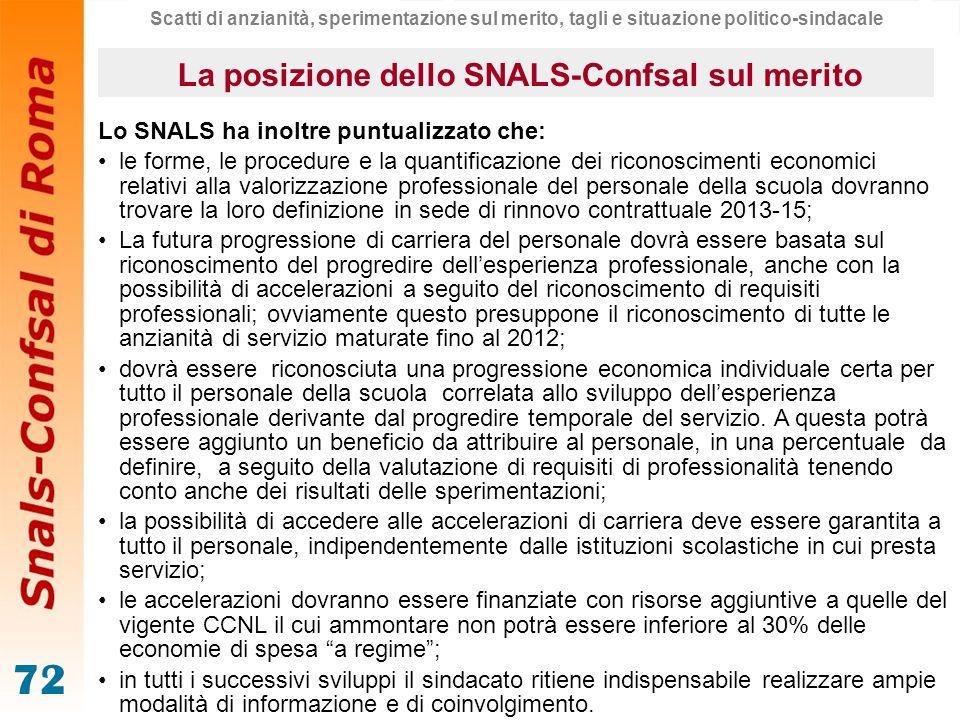 La posizione dello SNALS-Confsal sul merito