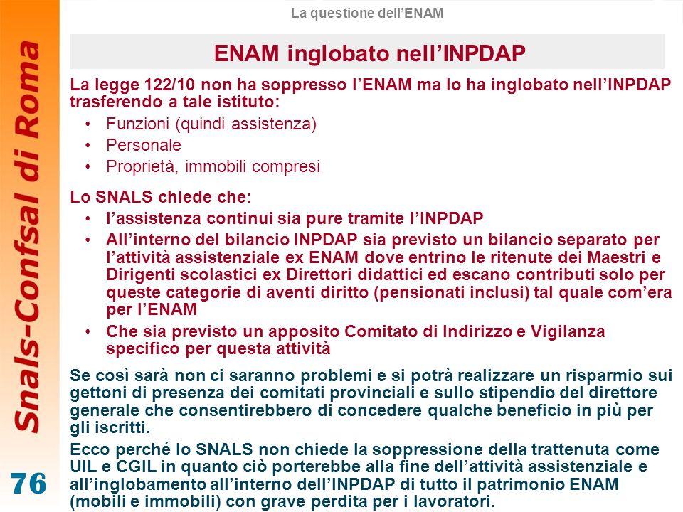 La questione dell'ENAM ENAM inglobato nell'INPDAP