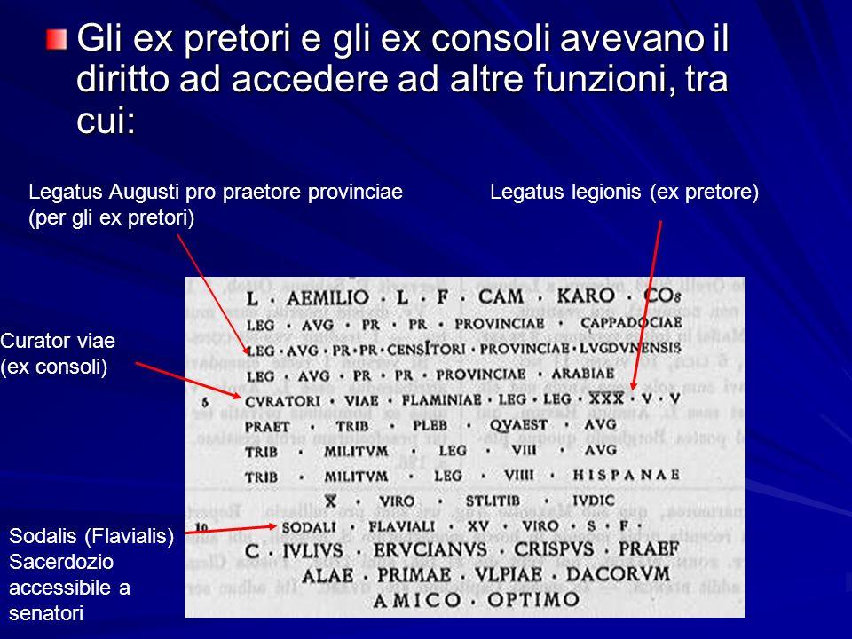 Gli ex pretori e gli ex consoli avevano il diritto ad accedere ad altre funzioni, tra cui: