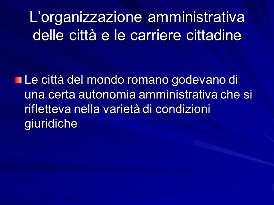 L'organizzazione amministrativa delle città e le carriere cittadine