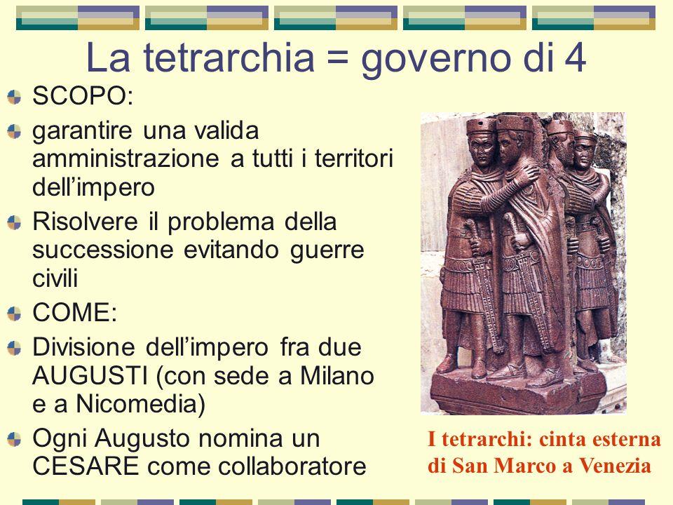 La tetrarchia = governo di 4