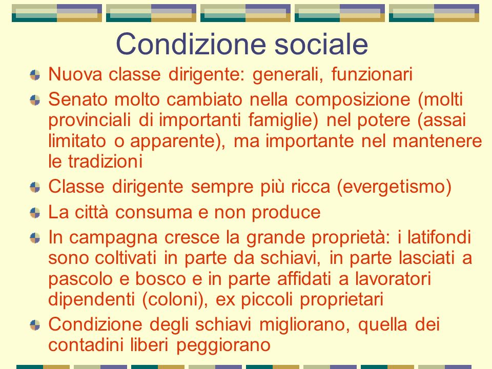 Condizione sociale Nuova classe dirigente: generali, funzionari