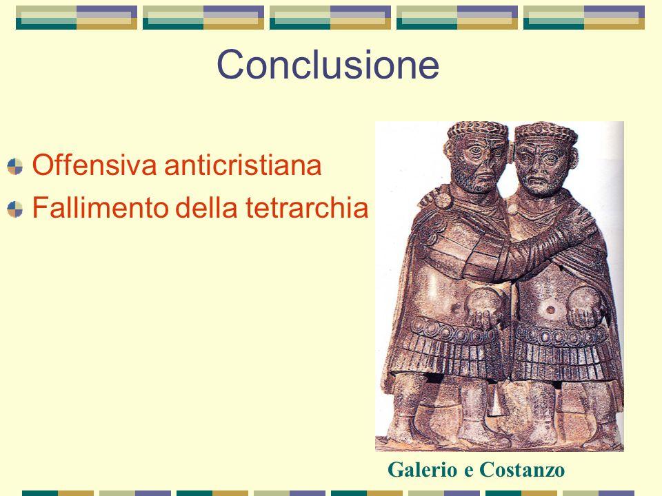 Conclusione Offensiva anticristiana Fallimento della tetrarchia
