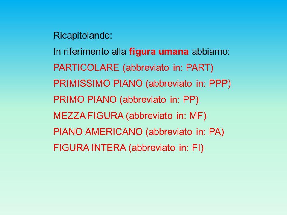 Ricapitolando: In riferimento alla figura umana abbiamo: PARTICOLARE (abbreviato in: PART) PRIMISSIMO PIANO (abbreviato in: PPP)