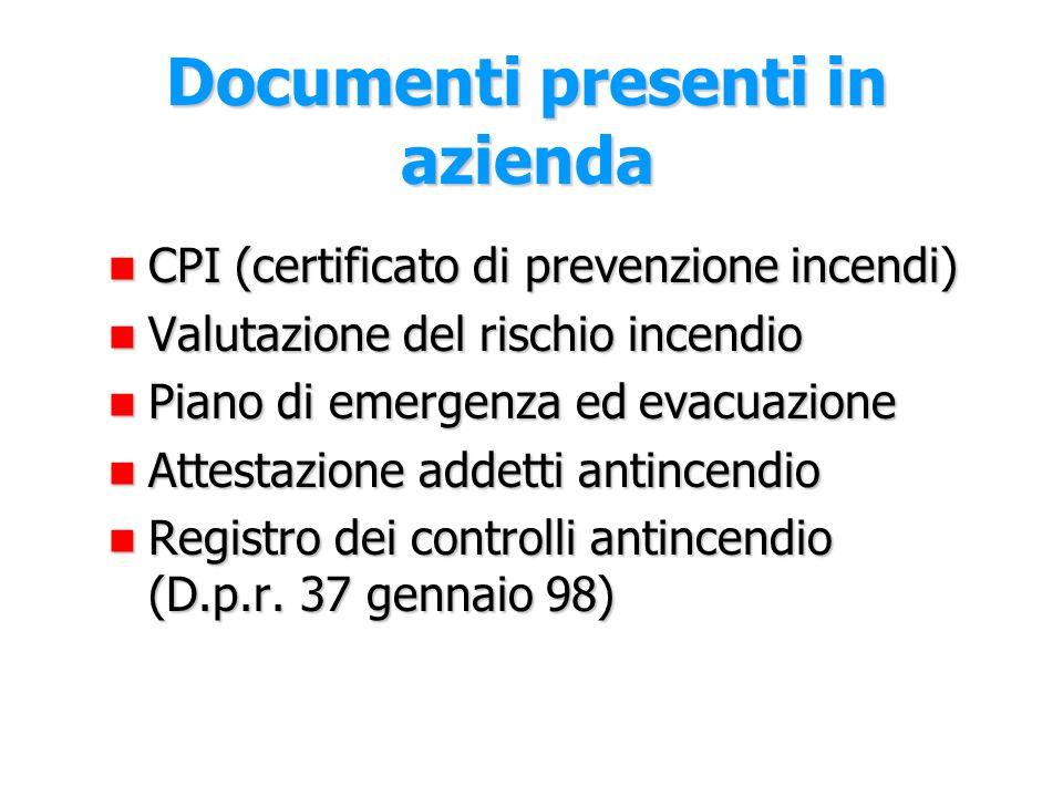 Documenti presenti in azienda
