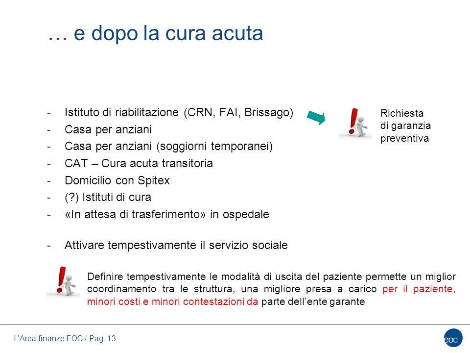 … e dopo la cura acuta Istituto di riabilitazione (CRN, FAI, Brissago)