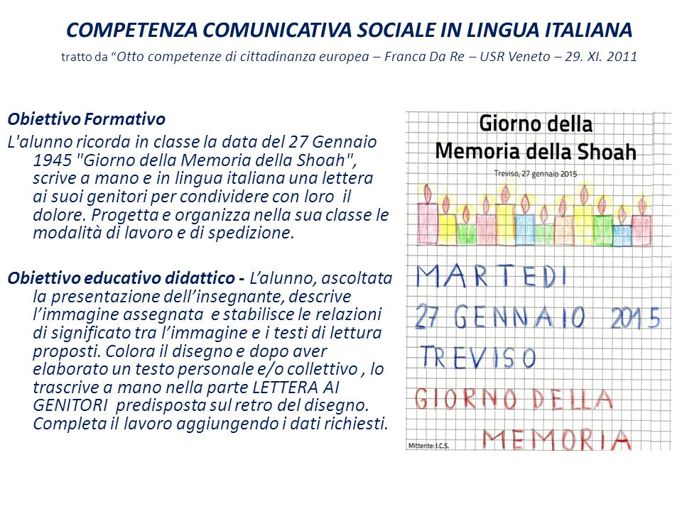 COMPETENZA COMUNICATIVA SOCIALE IN LINGUA ITALIANA tratto da Otto competenze di cittadinanza europea – Franca Da Re – USR Veneto – 29. XI. 2011