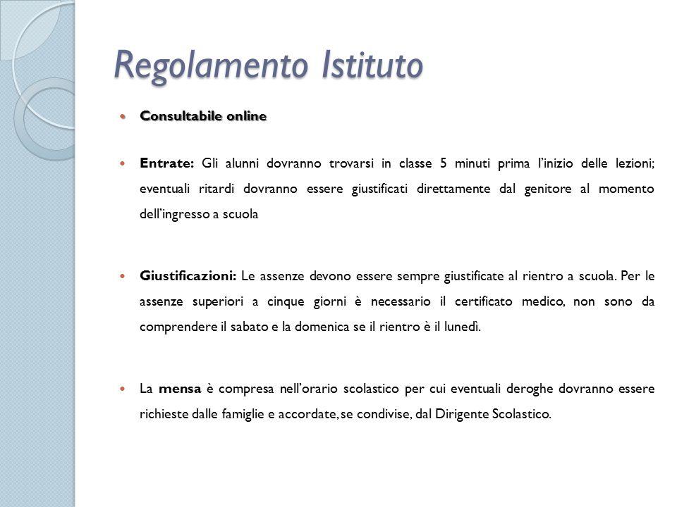 Regolamento Istituto Consultabile online