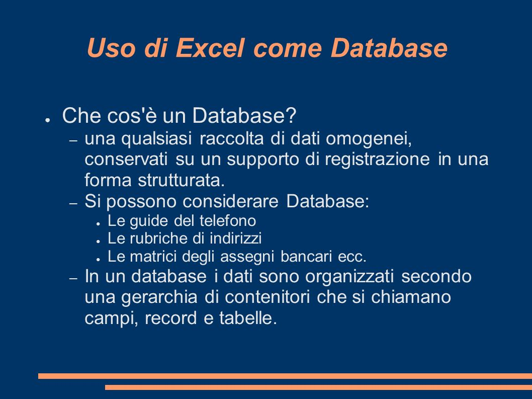 Uso di Excel come Database