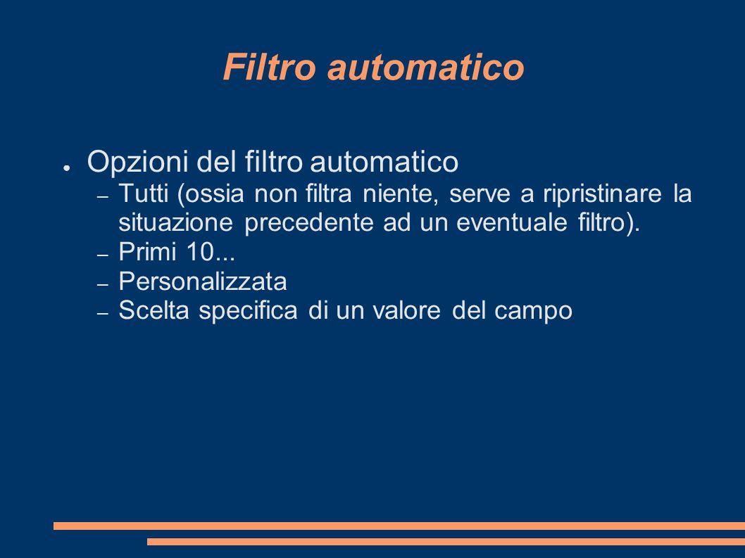 Filtro automatico Opzioni del filtro automatico