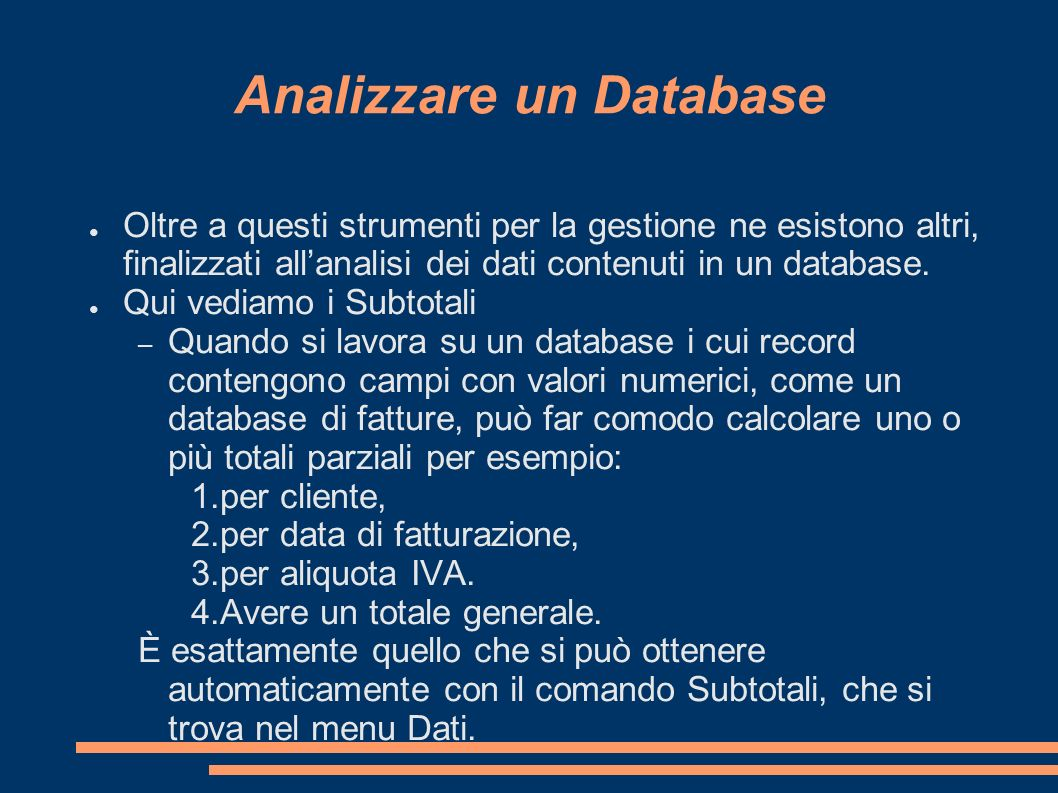 Analizzare un Database