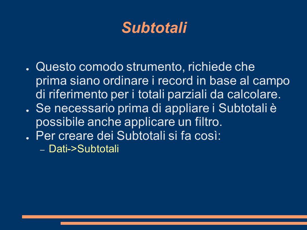 SubtotaliQuesto comodo strumento, richiede che prima siano ordinare i record in base al campo di riferimento per i totali parziali da calcolare.