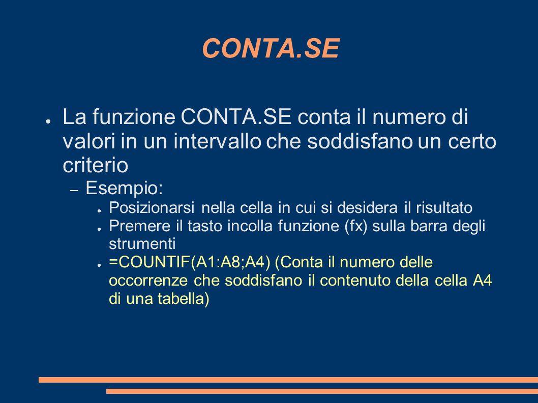 CONTA.SE La funzione CONTA.SE conta il numero di valori in un intervallo che soddisfano un certo criterio.