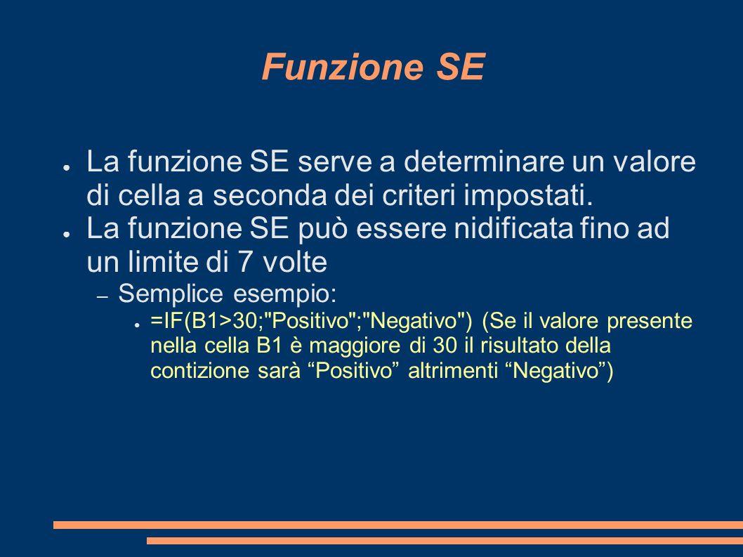 Funzione SE La funzione SE serve a determinare un valore di cella a seconda dei criteri impostati.