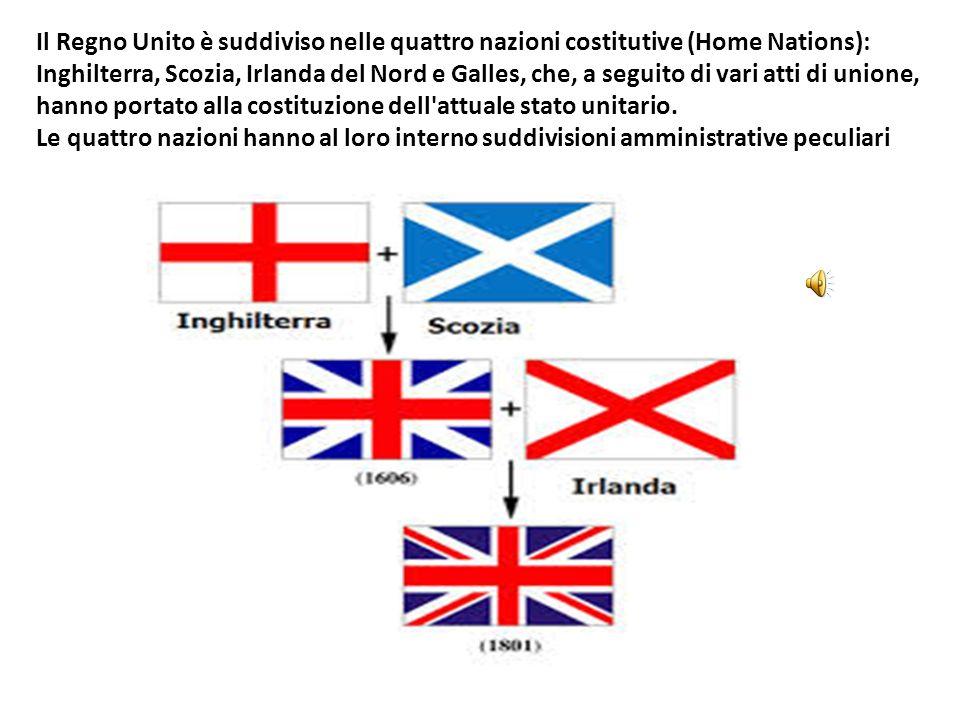 Il Regno Unito è suddiviso nelle quattro nazioni costitutive (Home Nations): Inghilterra, Scozia, Irlanda del Nord e Galles, che, a seguito di vari atti di unione, hanno portato alla costituzione dell attuale stato unitario.