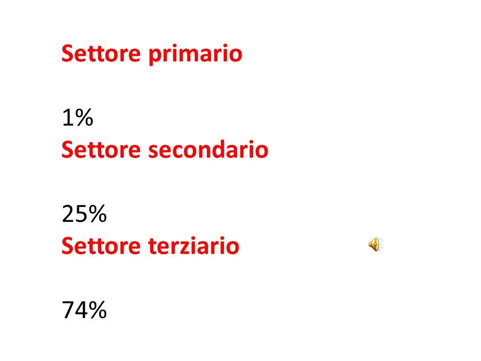 Settore primario 1% Settore secondario 25% Settore terziario 74%