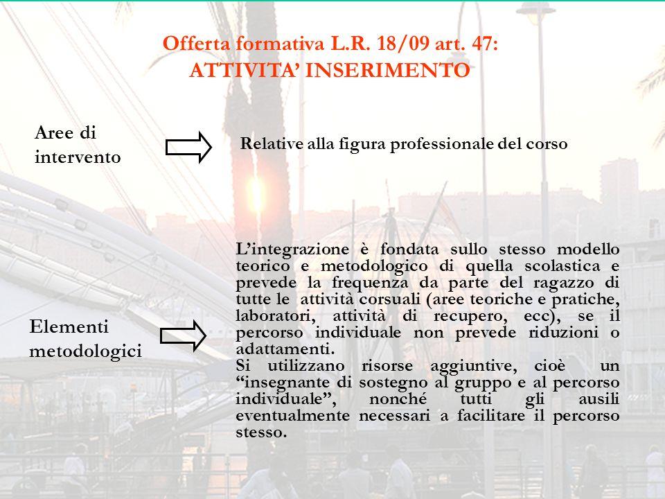 Offerta formativa L.R. 18/09 art. 47: ATTIVITA' INSERIMENTO