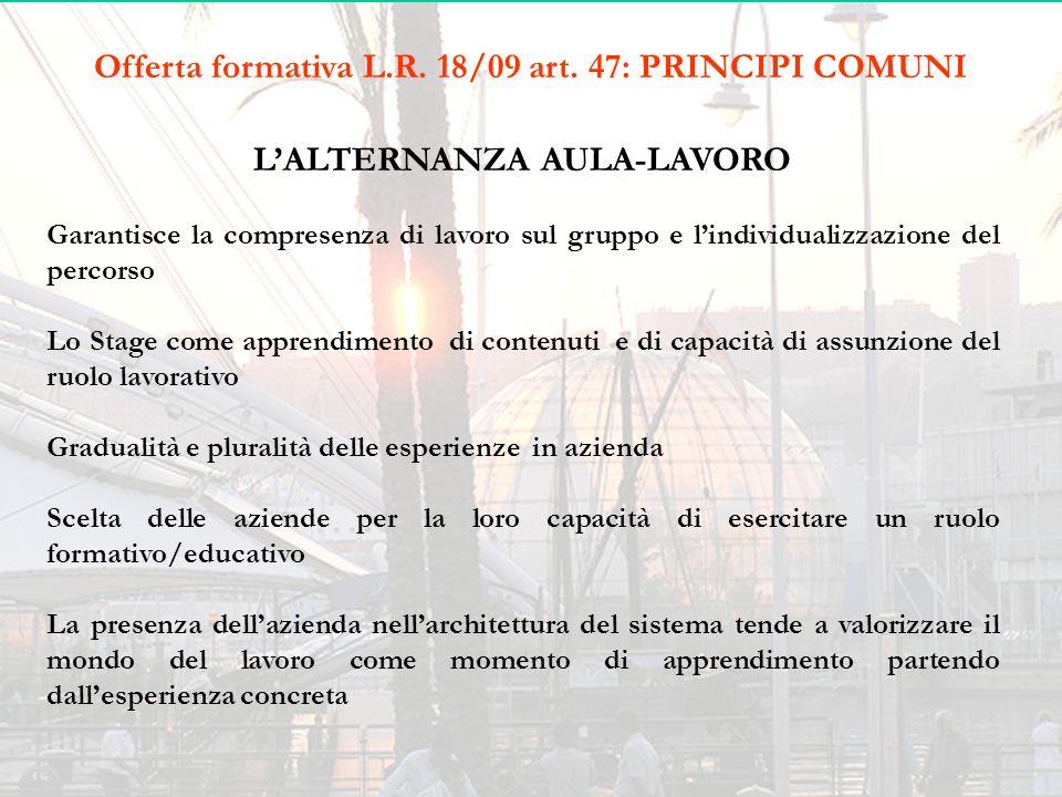 Offerta formativa L.R. 18/09 art. 47: PRINCIPI COMUNI