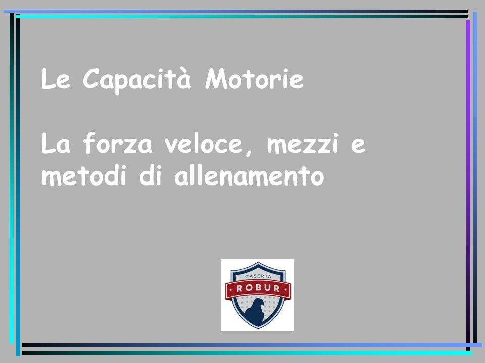 Le Capacità Motorie La forza veloce, mezzi e metodi di allenamento