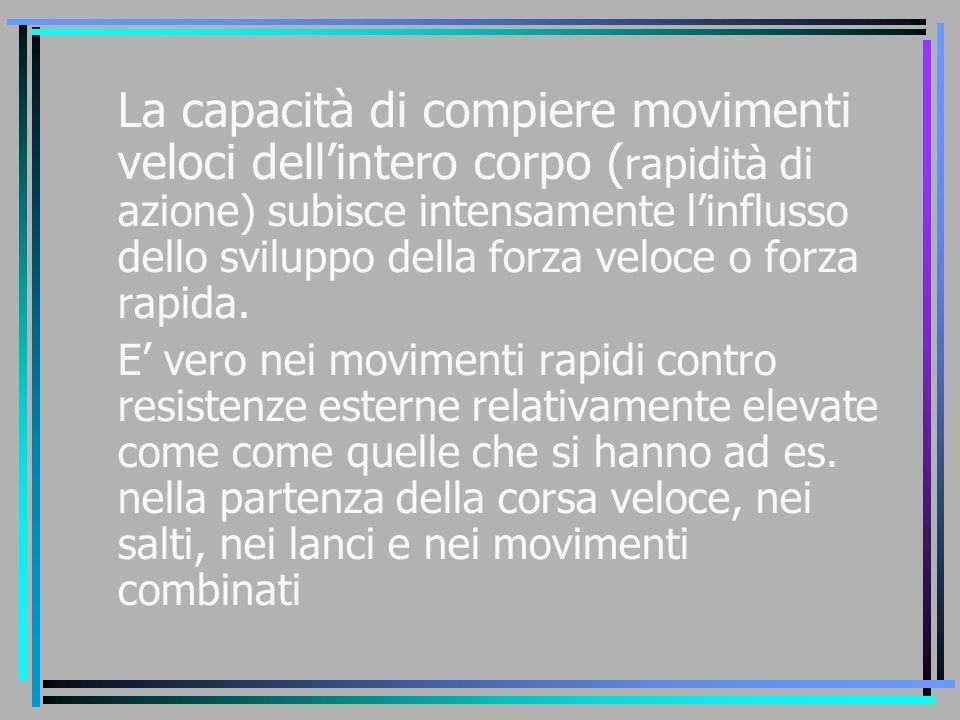 La capacità di compiere movimenti veloci dell'intero corpo (rapidità di azione) subisce intensamente l'influsso dello sviluppo della forza veloce o forza rapida.