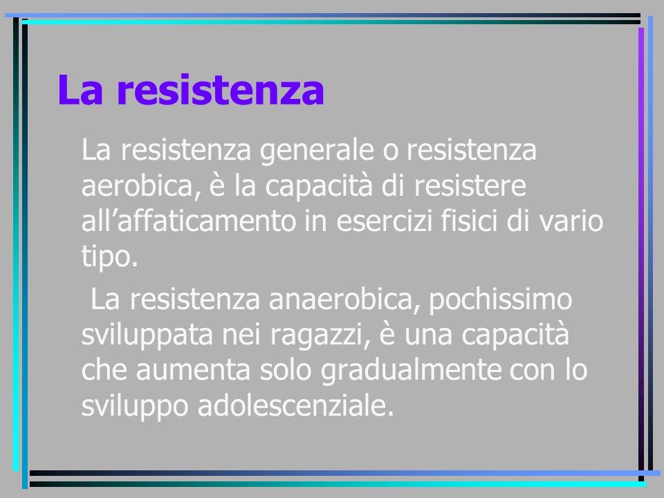 La resistenza La resistenza generale o resistenza aerobica, è la capacità di resistere all'affaticamento in esercizi fisici di vario tipo.