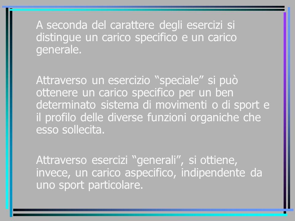 A seconda del carattere degli esercizi si distingue un carico specifico e un carico generale.