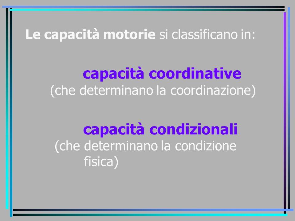 capacità coordinative (che determinano la coordinazione)