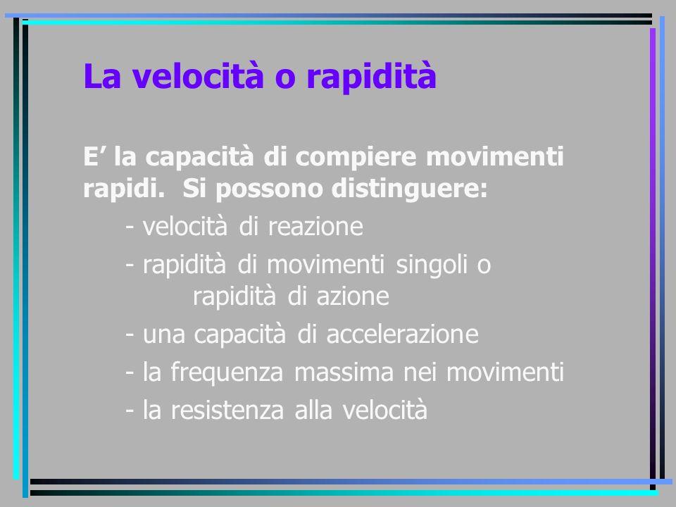 La velocità o rapidità E' la capacità di compiere movimenti rapidi. Si possono distinguere: - velocità di reazione.
